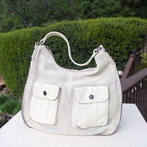 Linea Pelle White Leather Mesh Zipper Bag